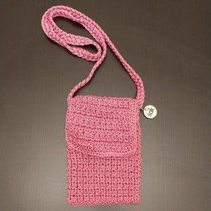 The Sak Pink Crochet Knit Small Crossbody Bag